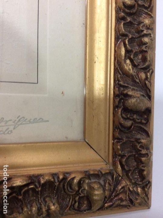 Antigüedades: Impresionante y antiguo marco de madera tallada y dorada para fofografia/espejo. - Foto 9 - 266909754