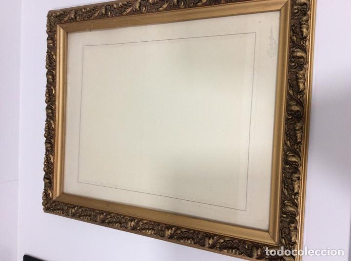 Antigüedades: Impresionante y antiguo marco de madera tallada y dorada para fofografia/espejo. - Foto 12 - 266909754