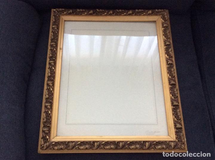 Antigüedades: Impresionante y antiguo marco de madera tallada y dorada para fofografia/espejo. - Foto 13 - 266909754