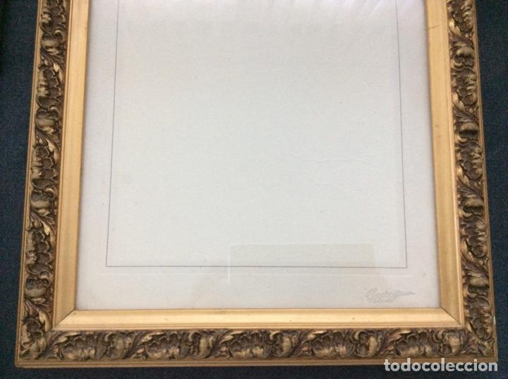 Antigüedades: Impresionante y antiguo marco de madera tallada y dorada para fofografia/espejo. - Foto 15 - 266909754