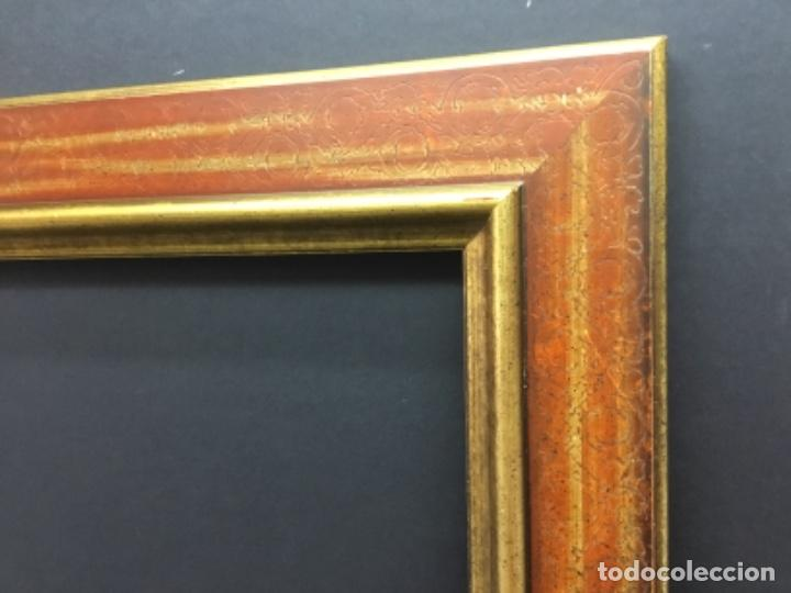 Antigüedades: Precioso Marco moldura madera oro y granate - Foto 2 - 266919469