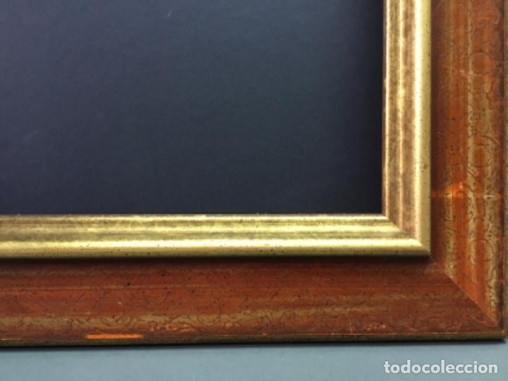 Antigüedades: Precioso Marco moldura madera oro y granate - Foto 4 - 266919469