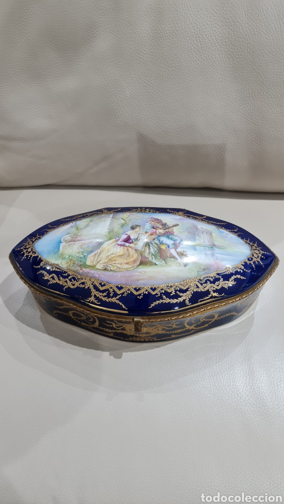 GRAN JOYERO DE PORCELANA SEVRES, SIGLO XIX (Antigüedades - Porcelana y Cerámica - Francesa - Limoges)