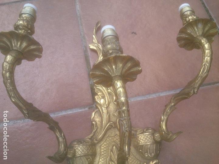 Antigüedades: GRAN ANTIGUO APLIQUE DE PARED EN BRONCE - Foto 4 - 266998634