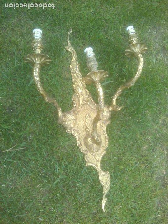 Antigüedades: GRAN ANTIGUO APLIQUE DE PARED EN BRONCE - Foto 6 - 266998634
