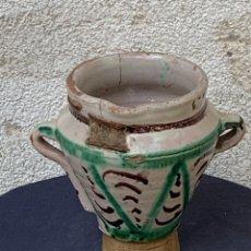 Antiquités: MORTERO ALMIREZ TRONCOCONICO CERAMICA ARAGONESA ARAGON VIDRIADA TERUEL XVIII 15X15CMS. Lote 267070524