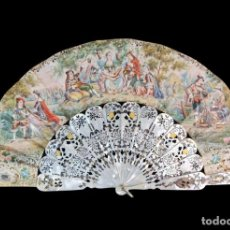 Antigüedades: ABANICO CA 1880. NÁCAR, PAPEL LITOGRAFÍA, PIQUÉ PLATA. MOTHER OF PEARL AND LITHOGRAPY PAPER HAND FAN. Lote 267099864