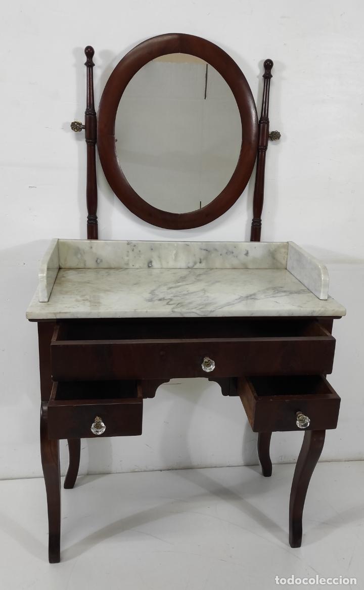 Antigüedades: Antiguo Tocador Isabelino - Madera de Caoba - Mármol de Carrara - Espejo Ovalado - S. XIX - Foto 9 - 267165619