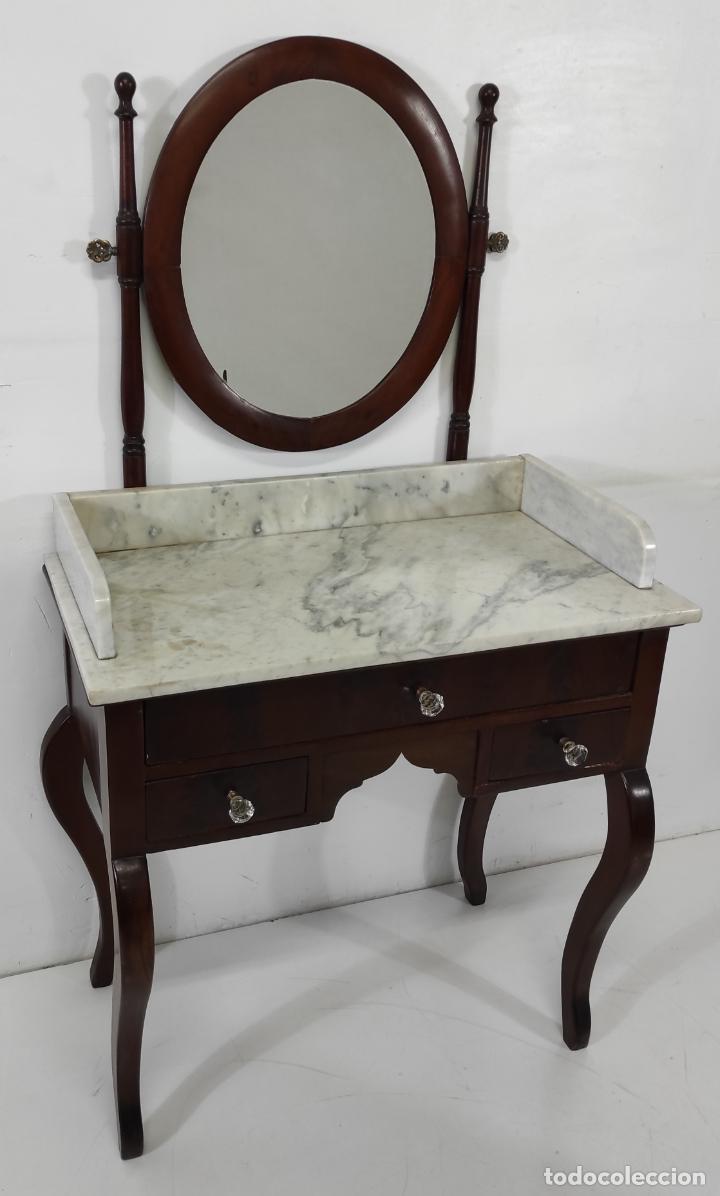 Antigüedades: Antiguo Tocador Isabelino - Madera de Caoba - Mármol de Carrara - Espejo Ovalado - S. XIX - Foto 10 - 267165619