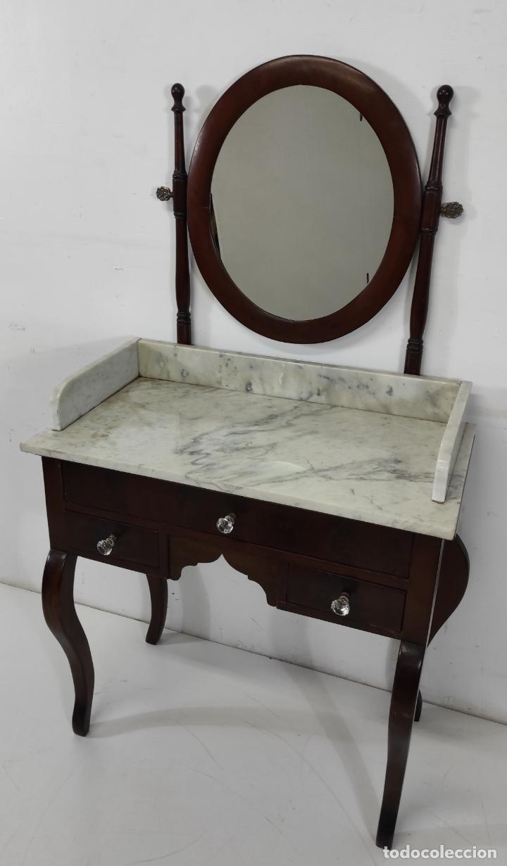 Antigüedades: Antiguo Tocador Isabelino - Madera de Caoba - Mármol de Carrara - Espejo Ovalado - S. XIX - Foto 11 - 267165619