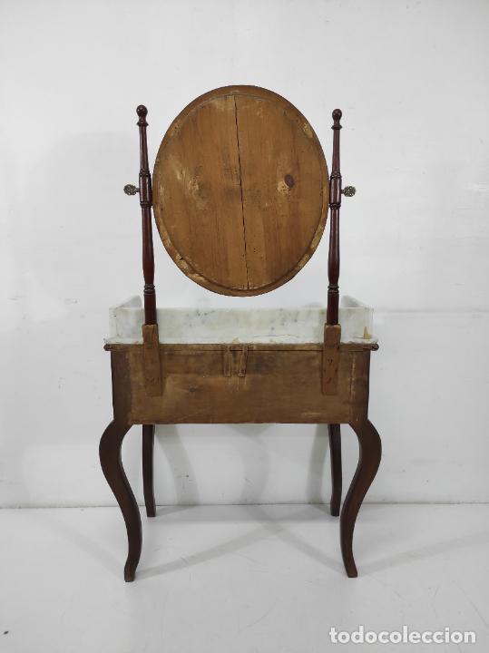 Antigüedades: Antiguo Tocador Isabelino - Madera de Caoba - Mármol de Carrara - Espejo Ovalado - S. XIX - Foto 15 - 267165619