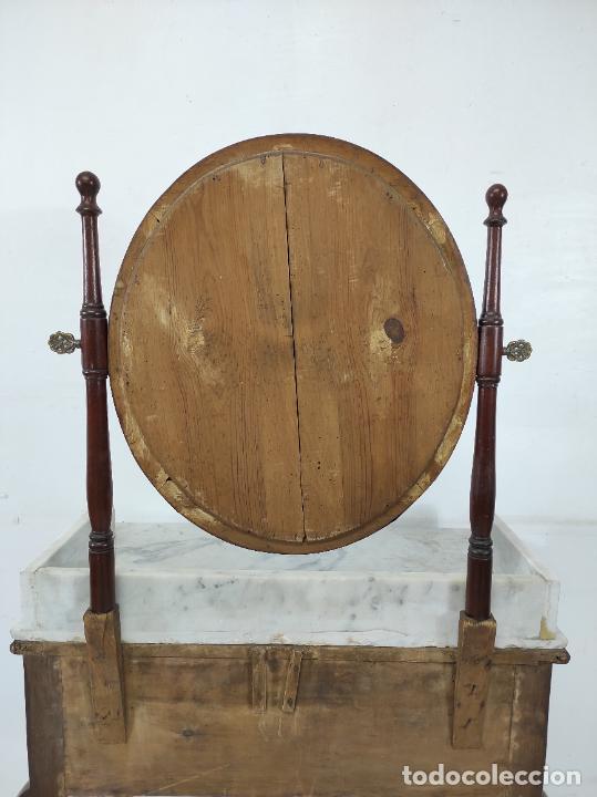 Antigüedades: Antiguo Tocador Isabelino - Madera de Caoba - Mármol de Carrara - Espejo Ovalado - S. XIX - Foto 17 - 267165619