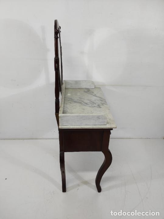 Antigüedades: Antiguo Tocador Isabelino - Madera de Caoba - Mármol de Carrara - Espejo Ovalado - S. XIX - Foto 18 - 267165619