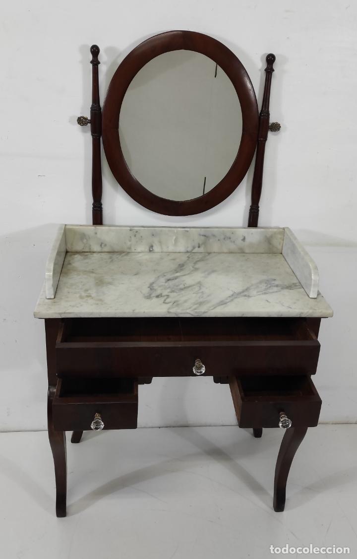 Antigüedades: Antiguo Tocador Isabelino - Madera de Caoba - Mármol de Carrara - Espejo Ovalado - S. XIX - Foto 20 - 267165619