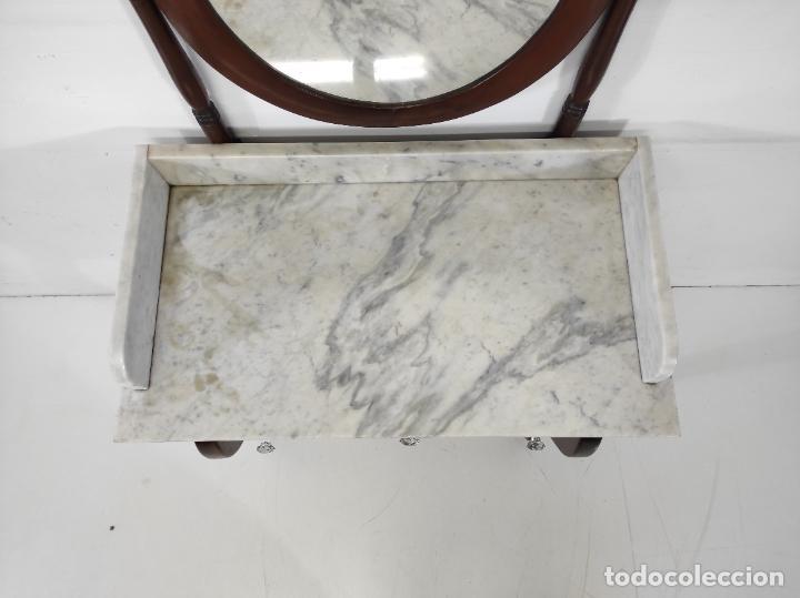 Antigüedades: Antiguo Tocador Isabelino - Madera de Caoba - Mármol de Carrara - Espejo Ovalado - S. XIX - Foto 21 - 267165619