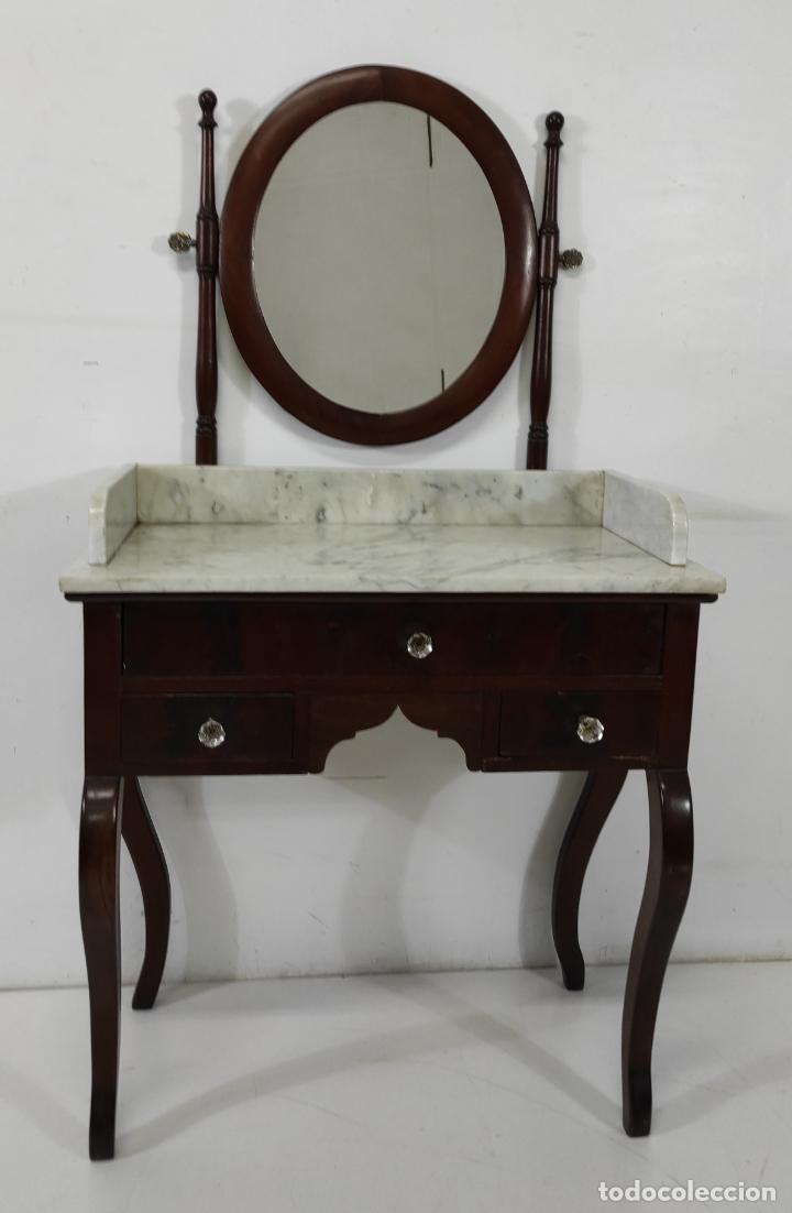 Antigüedades: Antiguo Tocador Isabelino - Madera de Caoba - Mármol de Carrara - Espejo Ovalado - S. XIX - Foto 24 - 267165619