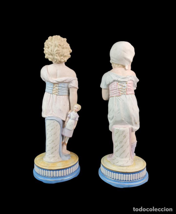Antigüedades: Gran pareja de figuras, porcelana biscuit. Niños. Thuringia ca 1900. Large pair of bisque figurines - Foto 2 - 267177909