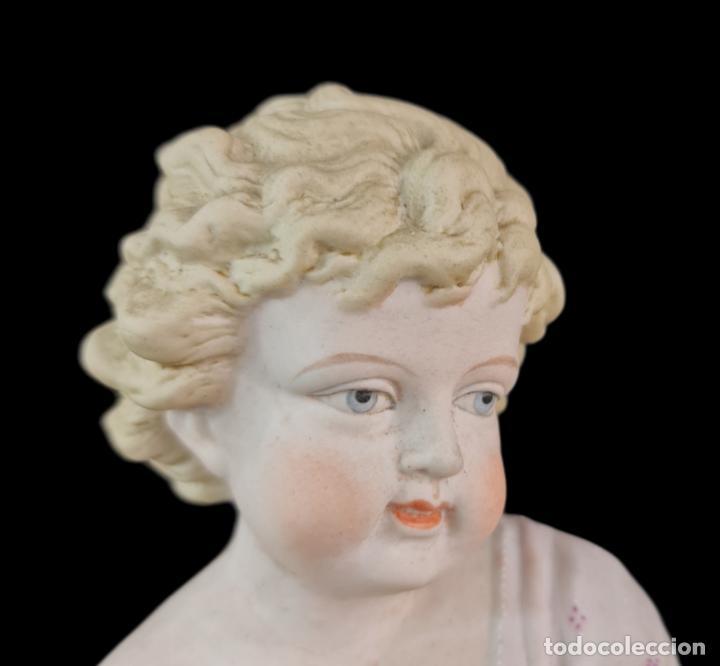 Antigüedades: Gran pareja de figuras, porcelana biscuit. Niños. Thuringia ca 1900. Large pair of bisque figurines - Foto 9 - 267177909