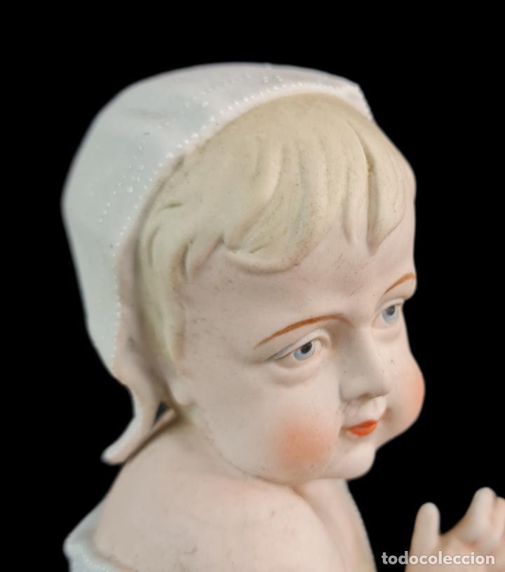 Antigüedades: Gran pareja de figuras, porcelana biscuit. Niños. Thuringia ca 1900. Large pair of bisque figurines - Foto 10 - 267177909