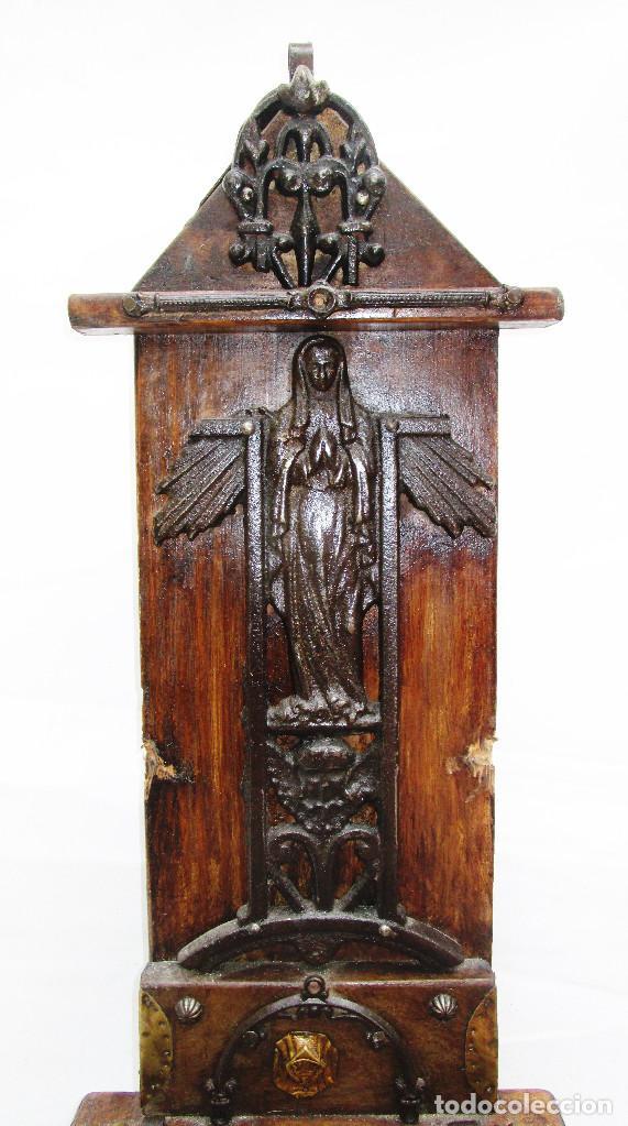 FANTASTICO ANTIGUO LIMOSNERO DE IGLESIA NOBLE MADERA HERRAJES CIRCA 1870 (Antigüedades - Religiosas - Ornamentos Antiguos)