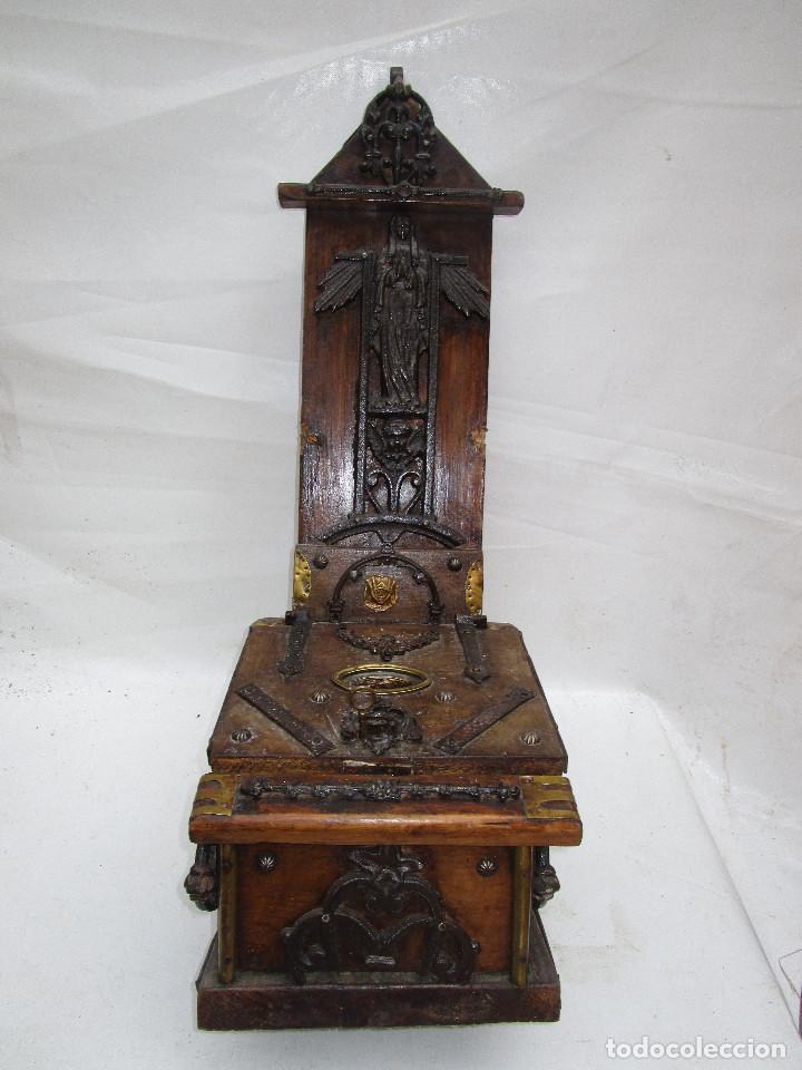 Antigüedades: FANTASTICO ANTIGUO LIMOSNERO DE IGLESIA NOBLE MADERA HERRAJES CIRCA 1870 - Foto 2 - 267281954
