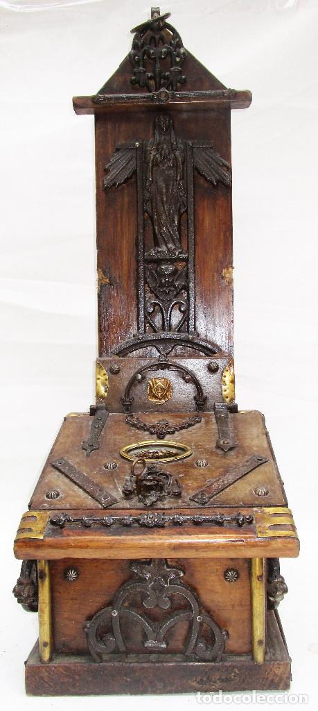 Antigüedades: FANTASTICO ANTIGUO LIMOSNERO DE IGLESIA NOBLE MADERA HERRAJES CIRCA 1870 - Foto 9 - 267281954