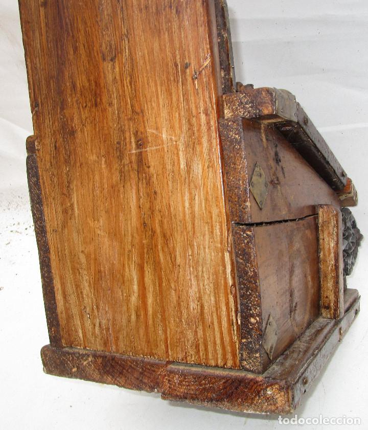 Antigüedades: FANTASTICO ANTIGUO LIMOSNERO DE IGLESIA NOBLE MADERA HERRAJES CIRCA 1870 - Foto 10 - 267281954