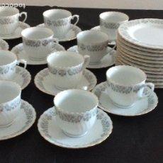 Antigüedades: JUEGO DE CAFÉ/TÉ DE 35 PIEZAS 12 PLATOS DE MERIENDA 11 TAZAS Y SUS CORRESPONDIENTES PLATOS PORCELANA. Lote 267354814