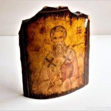 Oggetti Antichi: TEJA BARRO CON IMPRESION RELIGIOSA DECORACION - 15.CM ALTO X 11.CM ANCHO. Lote 267386124