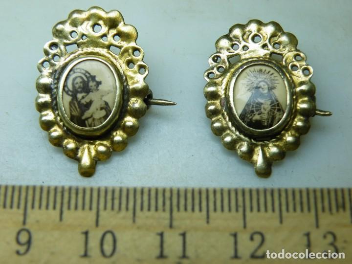PAREJA MEDALLAS-AGUJA-DEVOCIONARIAS-AÑOS 40 SAGRADO CORAZÓN NIÑO-DOLOROSA 7 PUÑA. (ELCOFREDELABUELO) (Antigüedades - Religiosas - Medallas Antiguas)
