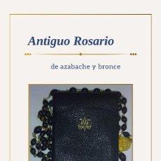 Oggetti Antichi: ROSARIO ANTIGUO CON CUENTAS DE AZABACHE Y CRUCIFIJO DE METAL MACIZO. Lote 267440844