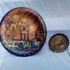 Antigüedades: 2 BANDEJAS DE METAL ORIENTALES (ÁRABE E INDIA) GRABADAS A MANO. Lote 267466004