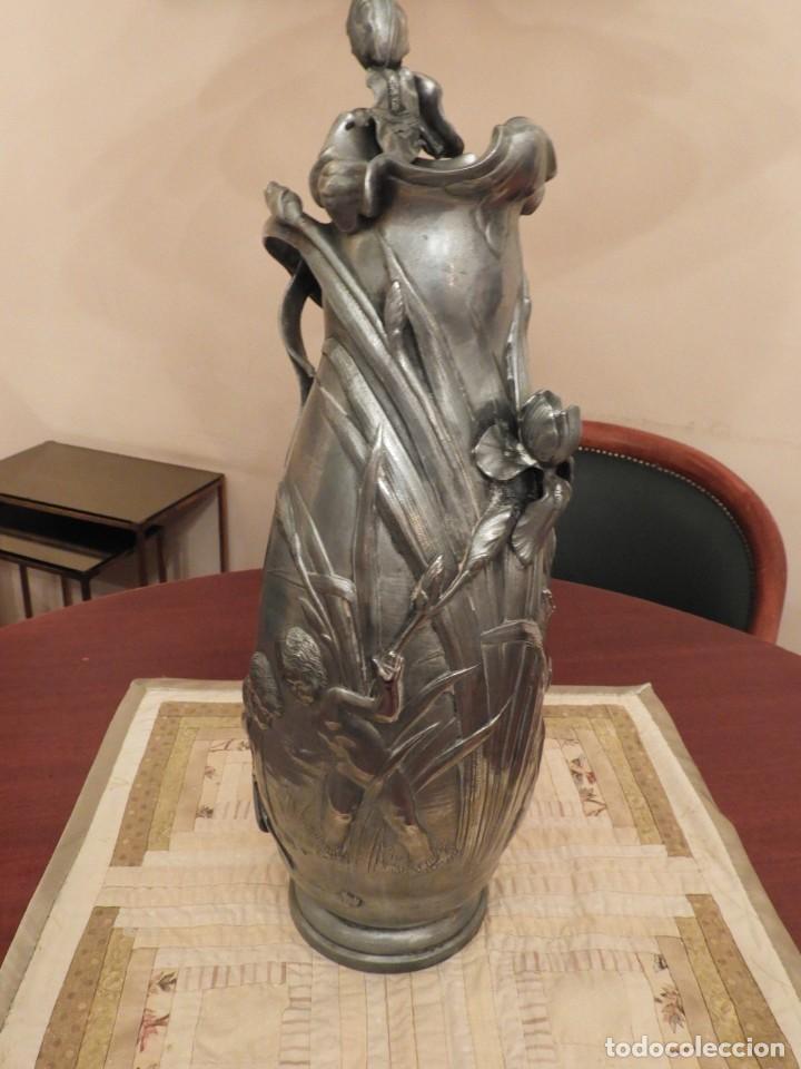 Antigüedades: ANTIGUO JARRON DE ESTAÑO ART NOUVEAU FIRMADO POR ELSIE W HERING - Foto 3 - 267489009