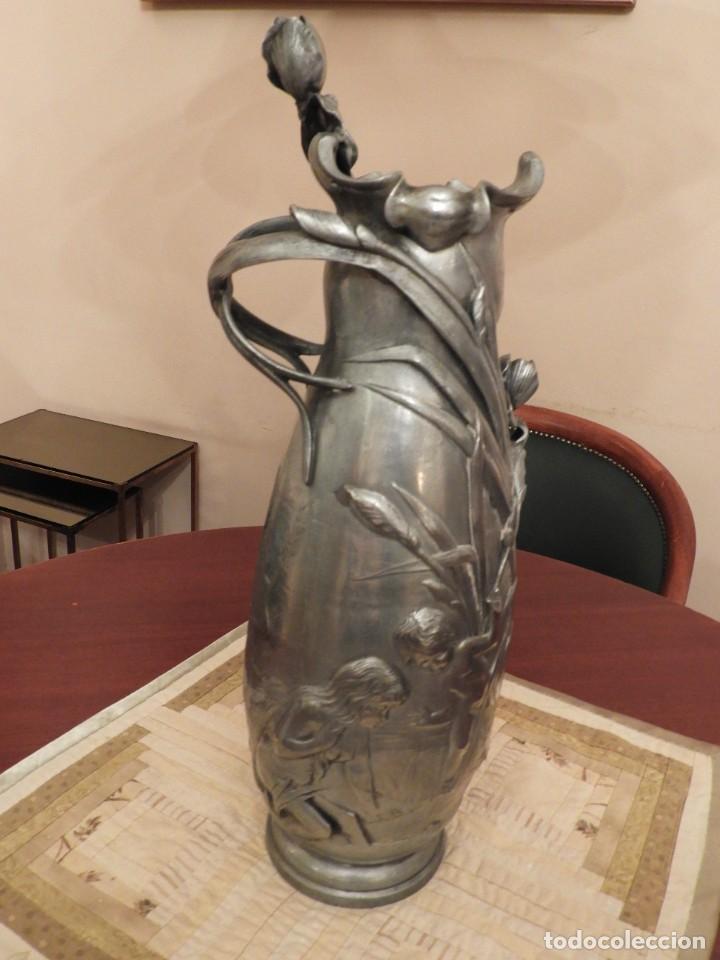 Antigüedades: ANTIGUO JARRON DE ESTAÑO ART NOUVEAU FIRMADO POR ELSIE W HERING - Foto 4 - 267489009