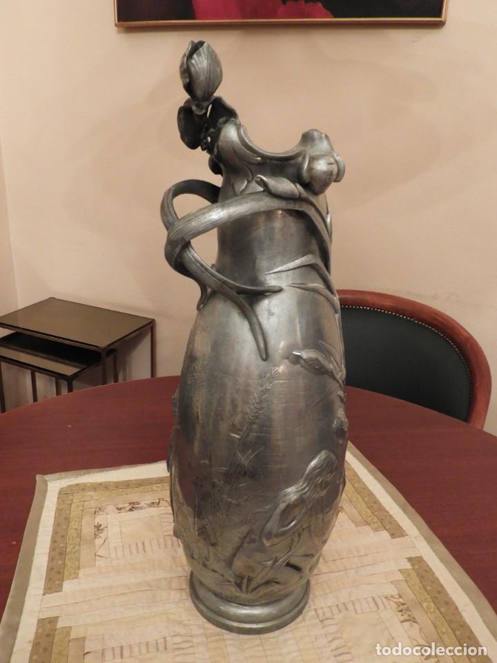 Antigüedades: ANTIGUO JARRON DE ESTAÑO ART NOUVEAU FIRMADO POR ELSIE W HERING - Foto 5 - 267489009