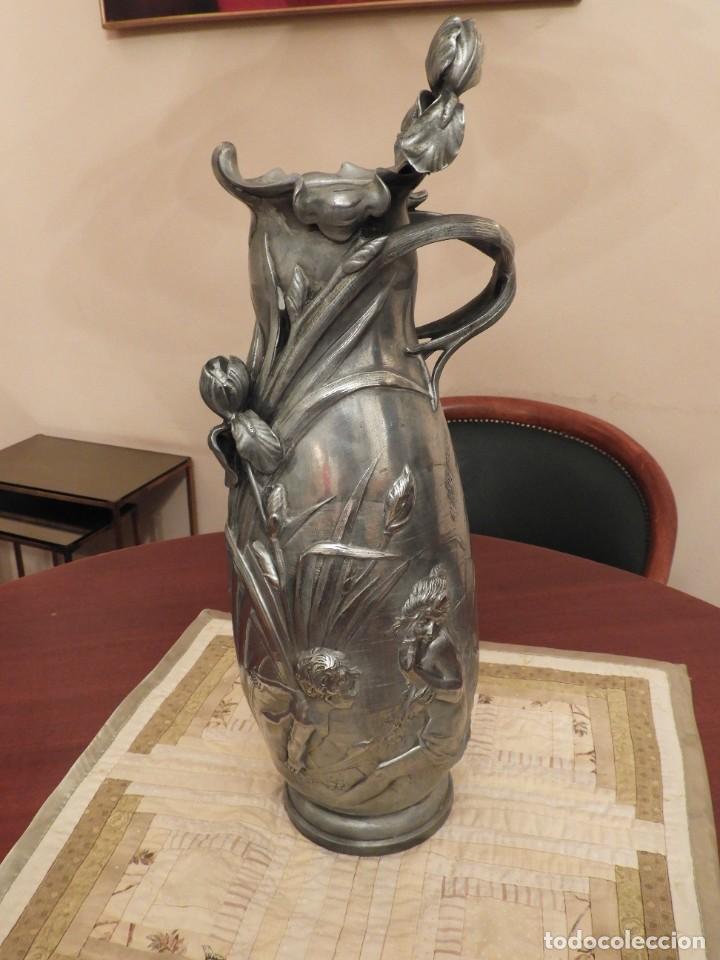 Antigüedades: ANTIGUO JARRON DE ESTAÑO ART NOUVEAU FIRMADO POR ELSIE W HERING - Foto 8 - 267489009