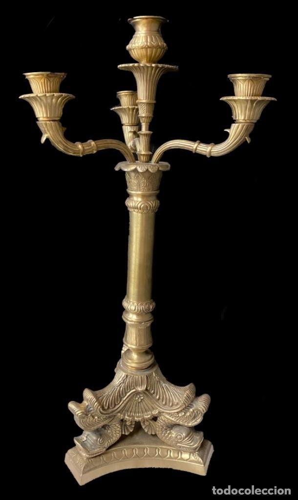 Antigüedades: Antigua pareja de candelabros de bronce imperio, Napoleón III. 74x34x34 - Foto 2 - 267507869
