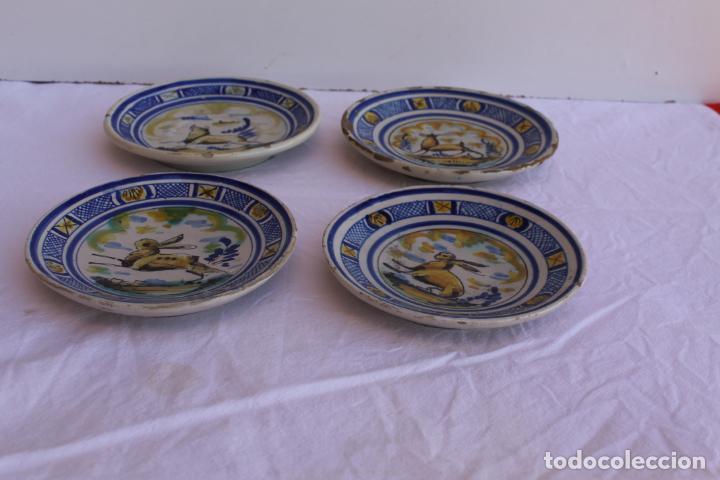 CUATRO PEQUEÑOS PLATOS DE CERAMICA DE TRIANA (Antigüedades - Porcelanas y Cerámicas - Triana)
