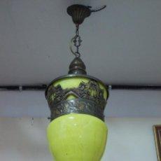 Antigüedades: ANTIGUA LAMPA FAROL ESTILO MODERNISTA, APLIQUE, CRISTAL VERDE Y LATON. ELECTRIFICADO. GRANDE. 90CM.. Lote 288627863