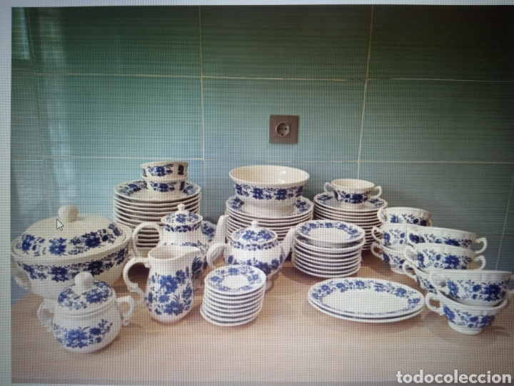 """VAJILLA SAN CLAUDIO """"PRINCIPADO"""" BLUEBOUQUET (Antigüedades - Porcelanas y Cerámicas - San Claudio)"""