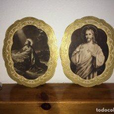 Antigüedades: JESÚS EN EL HUERTO DE LOS OLIVOS Y SAGRADO CORAZÓN DEJESÚS - EN RELIEVE - AÑOS 30/40. Lote 267679134
