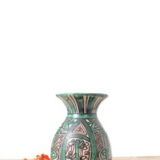 Antigüedades: JARRÓN DECORATIVO VERDE Y NEGRO DE CERÁMICA ESPAÑOLA DOMINGO PUNTER. Lote 267748474