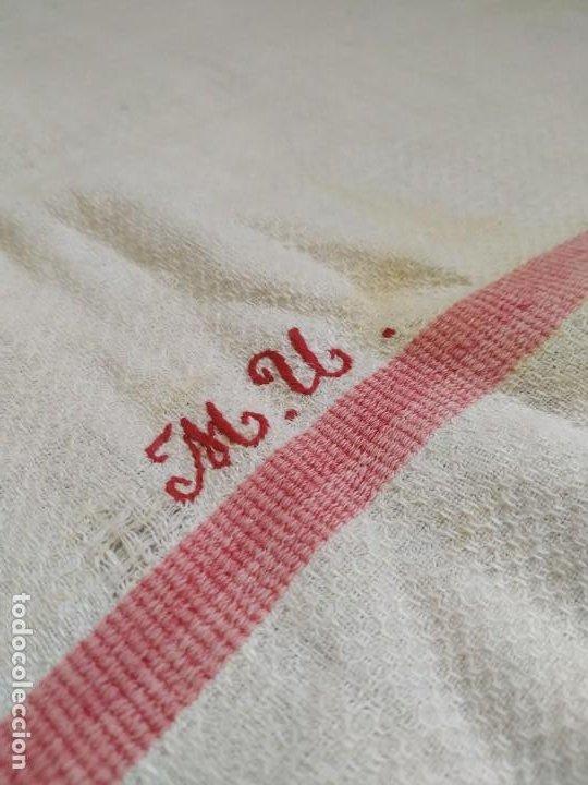Antigüedades: Lote 4 antiguos paños de cocina toallas. Hilo. Iniciales bordadas. Diferentes tamaños - Foto 8 - 267757379