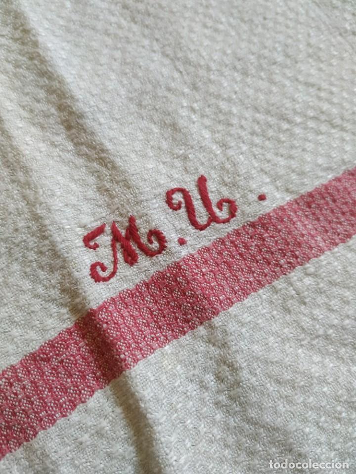 Antigüedades: Lote 4 antiguos paños de cocina toallas. Hilo. Iniciales bordadas. Diferentes tamaños - Foto 13 - 267757379