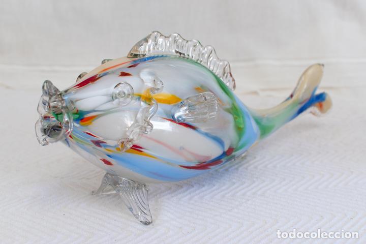 PRECIOSO PEZ CRISTAL SOPLADO MURANO VINTAGE. (Antigüedades - Cristal y Vidrio - Murano)