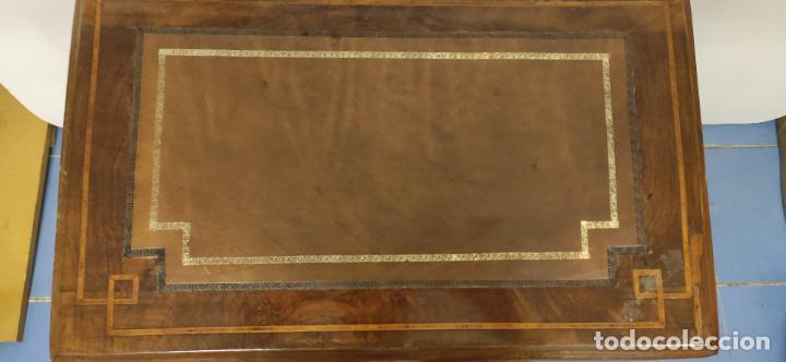 Antigüedades: MAGNIFICO DAVENPORT INGLES, ESCRITORIO MARQUETERIA Y MADERA DE NOGAL - Foto 10 - 267800774