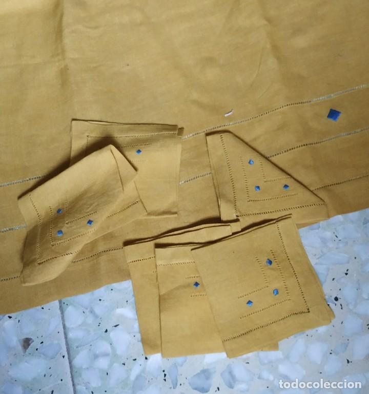 Antigüedades: Precioso mantel antiguo con vainicas y bordados. 6 servilletas. 110 x 108 cm. - Foto 3 - 267816249