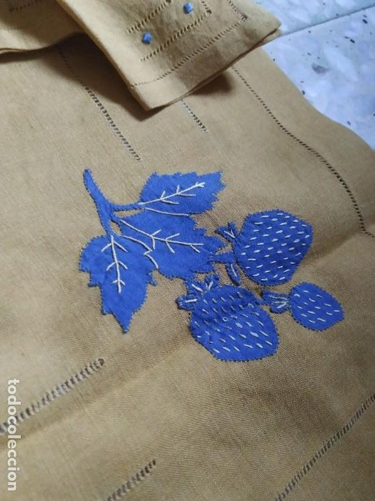 Antigüedades: Precioso mantel antiguo con vainicas y bordados. 6 servilletas. 110 x 108 cm. - Foto 7 - 267816249