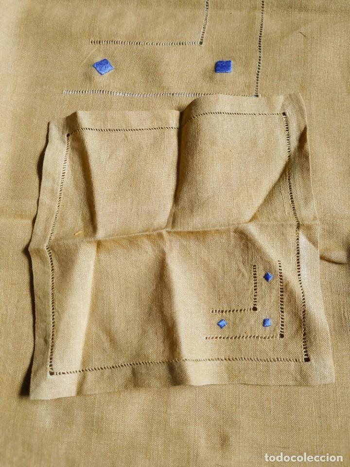 Antigüedades: Precioso mantel antiguo con vainicas y bordados. 6 servilletas. 110 x 108 cm. - Foto 10 - 267816249