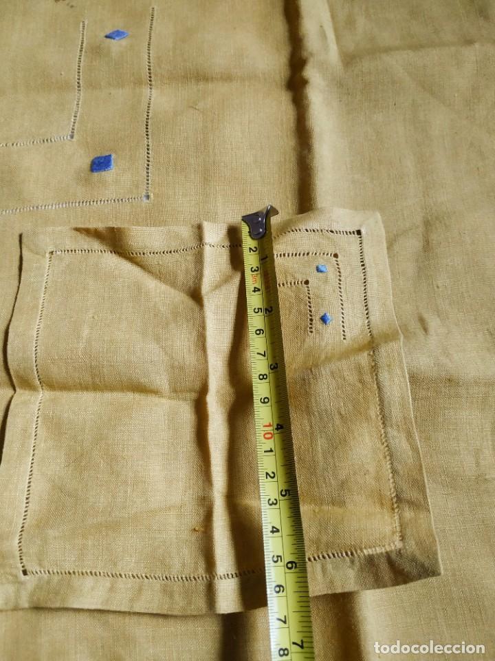 Antigüedades: Precioso mantel antiguo con vainicas y bordados. 6 servilletas. 110 x 108 cm. - Foto 11 - 267816249
